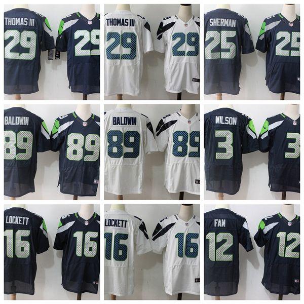 657be2abc Mens Seattle Seahawks Elit Futbol Forması 89 Doug Baldwin 12 12 Fan 3  Russell Wilson 16