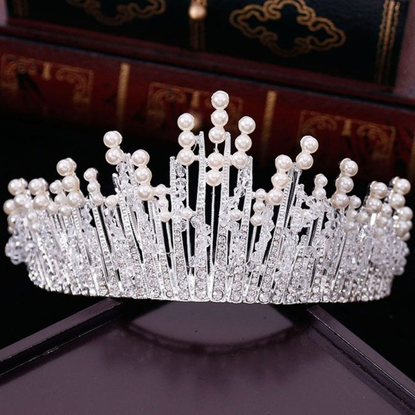 New Vintage Multilayers Luxury Silver Gold Crystal Pearl Tiara Crown Wedding Hair Accessories Bridal Party Jewelry Big Headbands free shippi