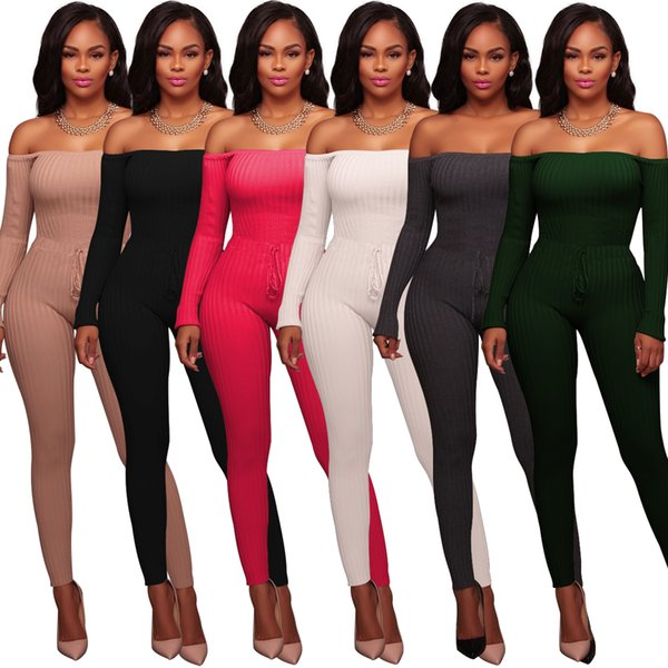 2018 Sexy Black Elastic Thread Design Cotton Long Sleeve jumper Trousers Hot sales purple jumpsuit