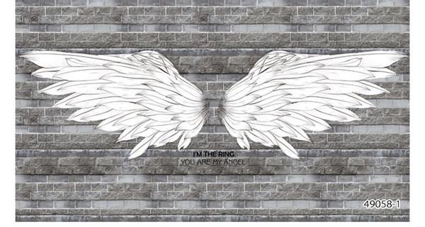 Siyah ve beyaz melek kanatları tuğla arka plan duvar kağıdı 3D bar blackboard graffiti Avrupa restoran kahve tema duvar kağıdı