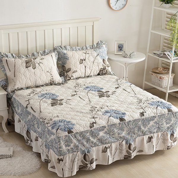 Papa &Mima Stiching Bed Skirt Pillowcase 3pcs Sheets Set Plants And Flowers Print Quilted Mattress Cover