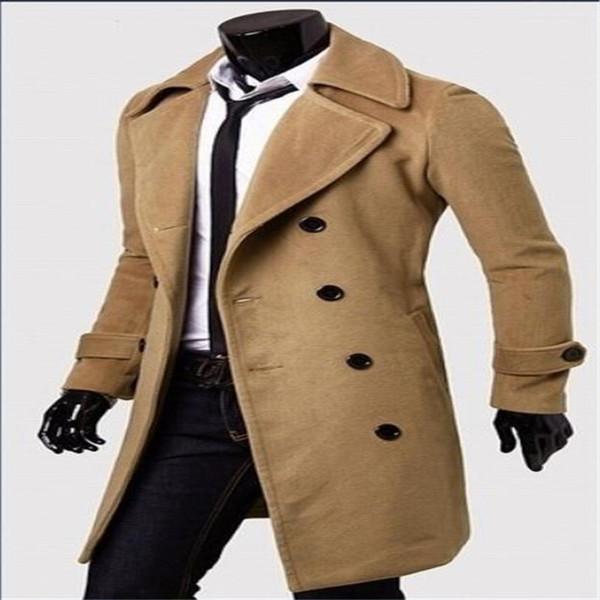 Europa e Estados Unidos moda masculina longo casaco de lã casaco blusão jaqueta de lapela de negócios casuais trespassado
