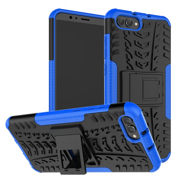 Wholesale Armor Case For Huawei Honor V10 9i 6C 8 Lite 7 5 5X 5A Tire Pattern Shockproof with Stand Back Cover Two-in-one