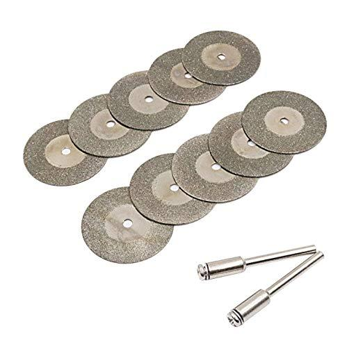 Diamond Cutting Wheel Cut Off Discs Gemstones Glass Cutting Disks and Arbor Shafts Coated Rotary Tools 18mm for Dremel 10Pcs (25mm)