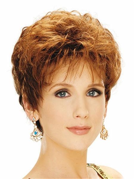 Art und Weise goldene blonde kurze flaumige Haarperücke Hitzebeständige Faser synthetische Perücke capless Art und Weiseperücke für Frauen