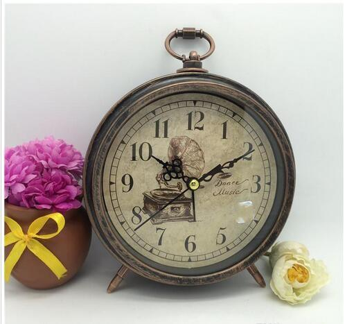 Bedroom Bedside Alarm Clock Vintage Metal Round Table Clock Home Room Decoration Arts And Crafts Gift