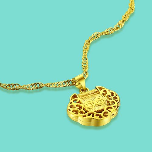 New Lady Gold Jewelery 24k Yellow Gold China Lock Pendant Necklace Lady Charm 46cm Size Clavicle Necklace Birthday Gift bijoux
