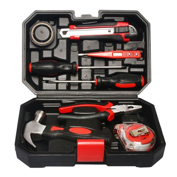 Freeshipping 9Pcs/lot Household Hand Tool Set Multifunction Hardware Repair Tool Box Kit Hammer Wire Pliers Cross Screwdrive Knives Saw