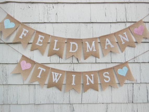 custom name Twins Twice Blessed baby shower burlap Banners nursery room baptism party Buntings garlands Photo Prop