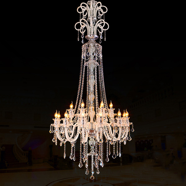 large stair long hotel luxury crystal pendant chandelier modern long K9 Lobby hotel lustres de crystal pendant candle chandelier fixture