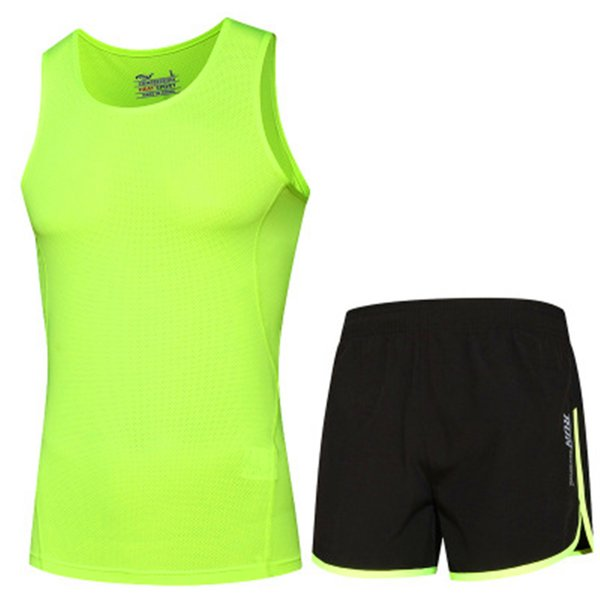 2018 Men Sports Suits Running Clothing Quick Dry Breathable Gym Fitness T-shirts Reflective Design Sportwear Shorts Sets