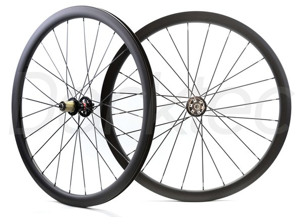 700C disc Toray T700 full carbon road bike disc Clincher wheelset with Thru Axle 6 Bolt carbon Asymmetric bicycle wheels