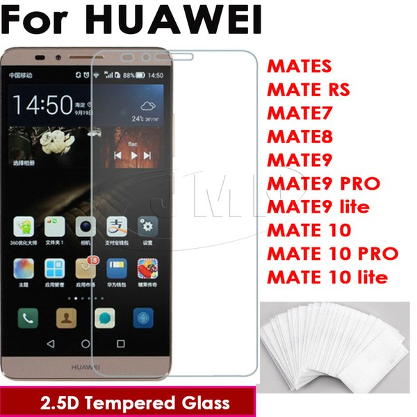 9H 2.5D 0.26mm Tempered glass phone screen protector film for Huawei MATE RS 7 8 MATE 9 9 PRO 9 lite MATE 10 10 PRO 10 lite