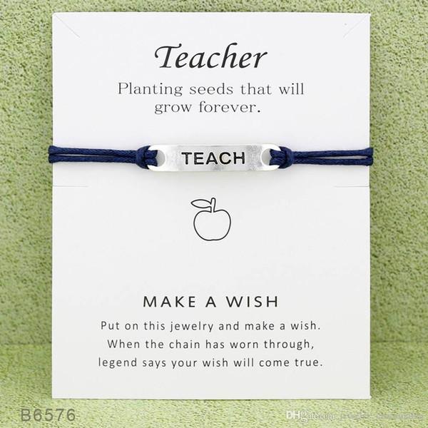 10pcs/lot Silver Tone Teach Charm Bracelets & Bangles for Women Girls Teacher Adjustable Friendship Statement Jewelry With Card