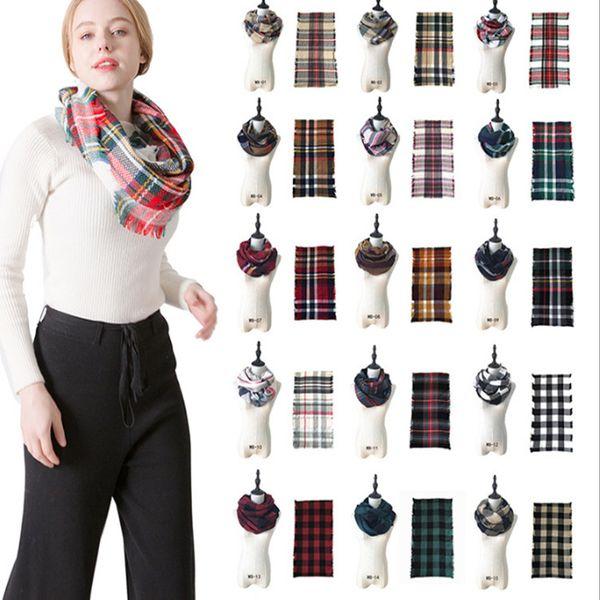 best selling Winter Knit Tartan Plaid Infinity Scarf Shawl Women Loop Bandana New Designer Red Buffalo Grid Check Snood Scarves LE136