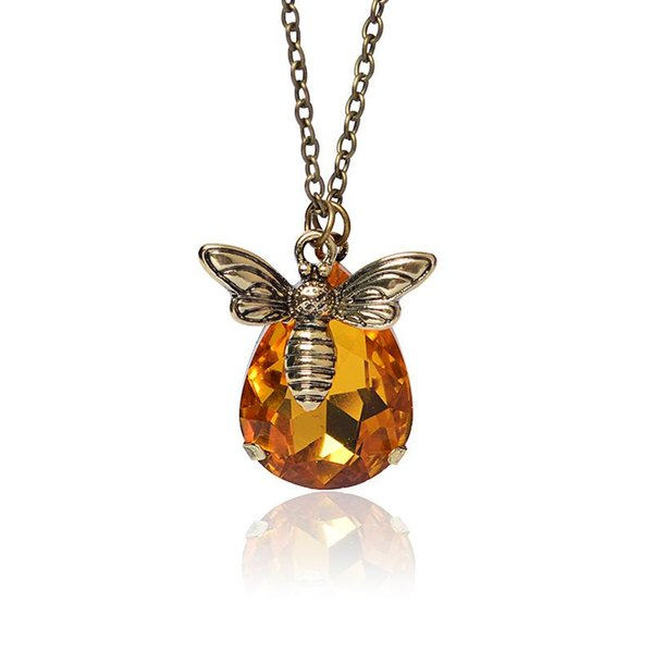 Wholesale-New Fashion Jewelry Honey Bee Suspension For Women Crystal Necklaces & Pendants collier Jewelry Gift Wholesale