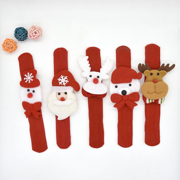 Chrismas Patted Circle Christmas Bracelet Gifts New Year Party Children's Toys Santa Wrist Clap Circle Snowman Elk Snap Ring MMA655