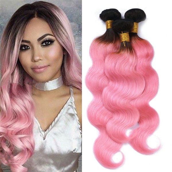 Ombre Pink Virgin Malaysian Body Wave Human Hair Weave 3 Bundles Dark Roots Light Pinnk Ombre Virgin Hair Double Wefts Extensions