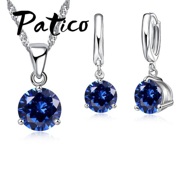 Patico canndy farben 925 sterling silber hochzeit elegante schmuck sets kristall anhänger kragen halskette ohrringe