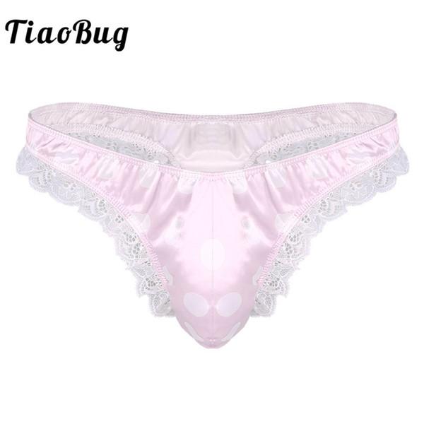 TiaoBug Mens Lingerie Shiny Low Rise Gay Ruffle Lace Polka Dots Bikini G-string Thong Underwear Sexy Sissy Panties Tanga