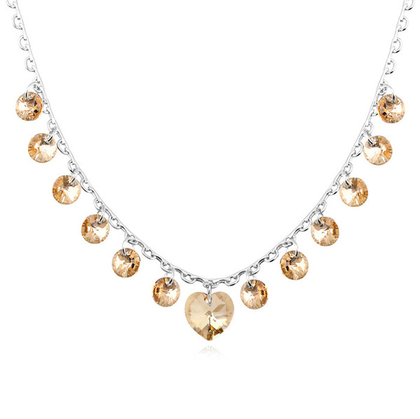 crystal heart charm necklace with Crystals from Swarovski original fashion jewelry for women girls 2018 new wedding gift