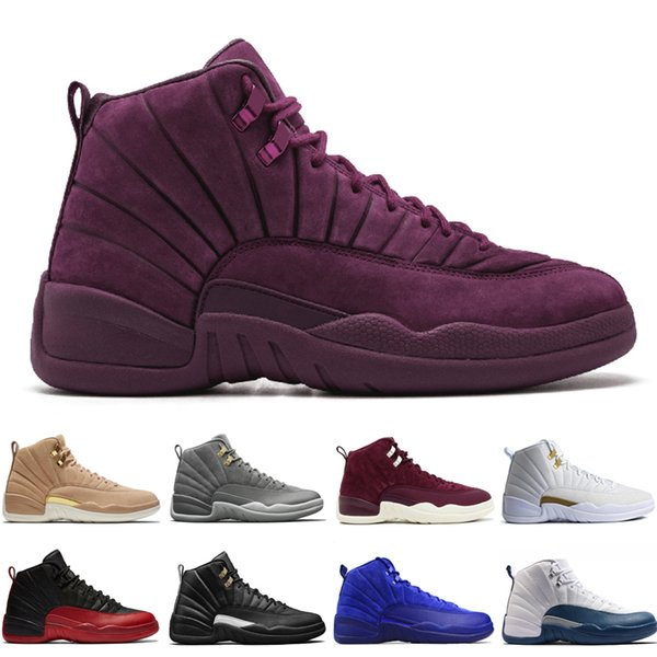 12 12s mens basketball shoes Wheat Dark Grey Bordeaux Flu Game The Master Taxi Playoffs University Gamma French Blue Wool Sports sneakers