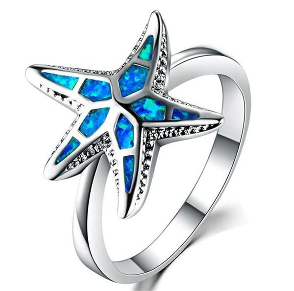 Стерлингового Серебра 925 Заполненный Зеленый Белый Синий Огненный Опал Кольцо Морская Звезда Для Женщин Камень Старинные Животные Ювелирные Изделия Груза падения