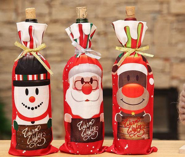 Ev için Noel Süslemeleri Noel Baba Şarap Şişesi Kapağı Kardan Adam Stocking Hediye Sahipleri Noel Navidad Dekor Yeni Yıl