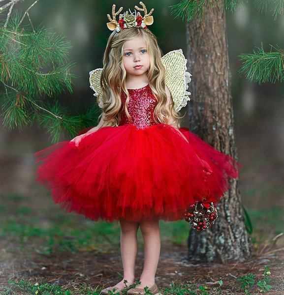Sparkly Red Sequined Flower Girls Dresses For Wedding Cheap Christmas Toddler Pageant Gowns Knee Length Tulle Ball Gown Kids Prom Dress