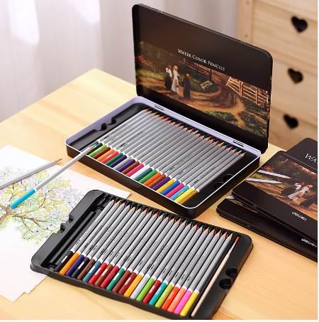 Deli Water Color Pencil Set 24/36/48 Colors Soluble Pencil For Drawing Painting Sketch Tin/Paper Box Art School Supplies