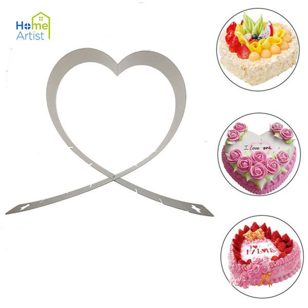 1 Stücke Einstellbare Herz Mousse Ring Form Edelstahl Mousse Mold Metall Kuchenform Backform Herz Kuchen Werkzeuge