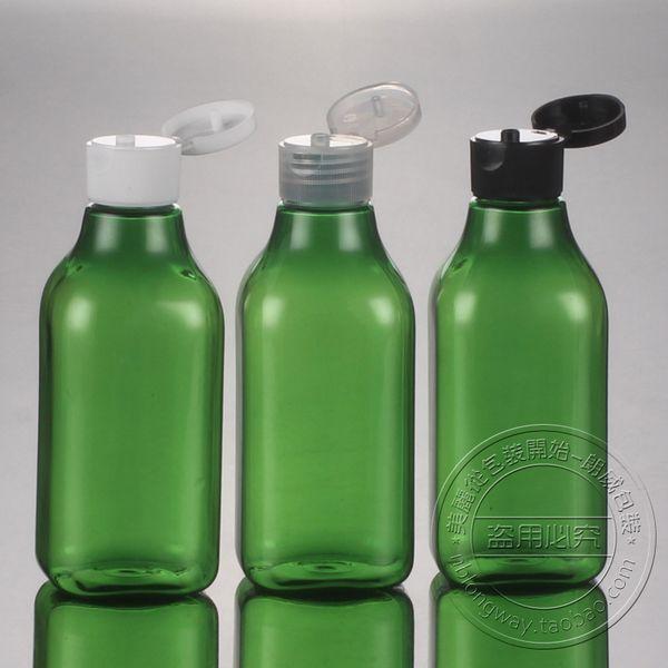 Botella cuadrada cosmética plástica al por mayor de los 200Ml con el casquillo superior del tirón para la venta