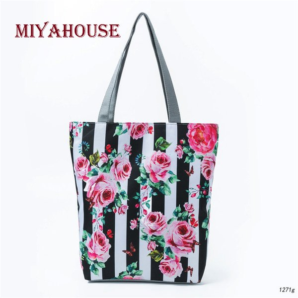 Miyahouse White And Black Striped Design Shoulder Bag Women Canvas Floral Printed Tote Handbag Lady Beach Bag Summer