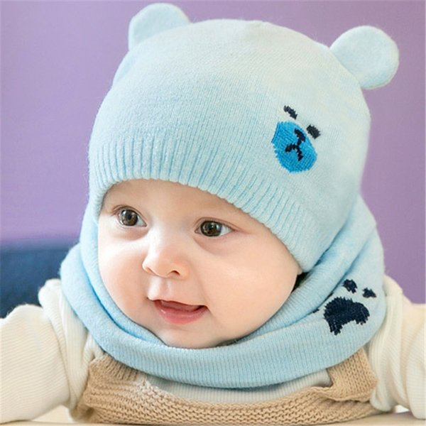 2pcs/set Fashion Newborn Hats Knied Warm Bear Round Machine Cap Protects Ear Bonnet Baby Winter Caps + Scarf Suits