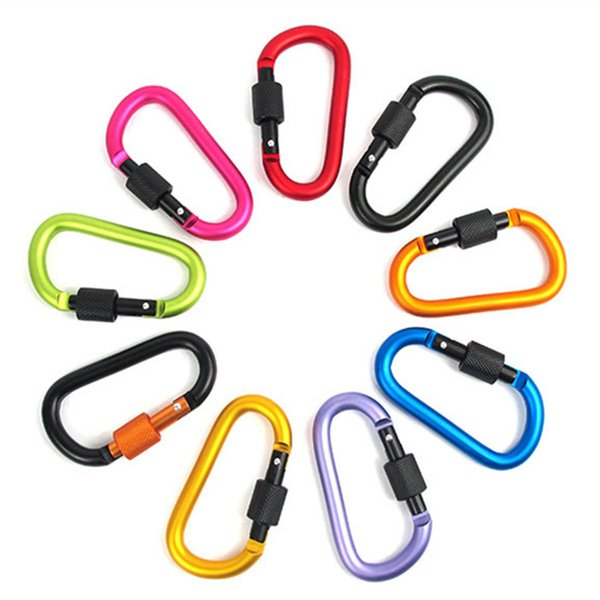 High Quality Aluminum Alloy D Style Screw Nut Shape Buckles Mountaineering Camping Backpack Multi Color Buckle Bottle Key Chain Hanging Hook