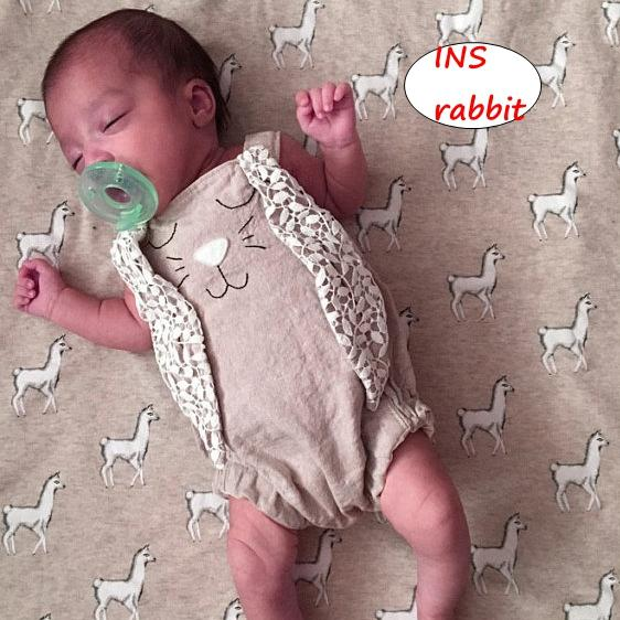 Младенческая кролик печати вышивка комбинезон модули детские летние хлопок хаки комбинезон новорожденных спинки уха топы 0-2Years