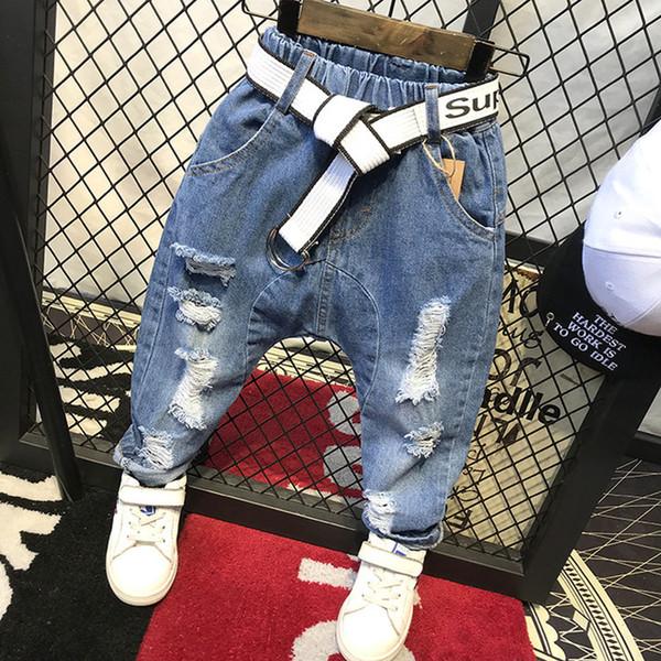 Дети брюки мода мальчики джинсы дети мальчики рваные джинсы дети джинсовые брюки детские повседневные Жан младенческой мальчиков брюки C12035 (без пояса