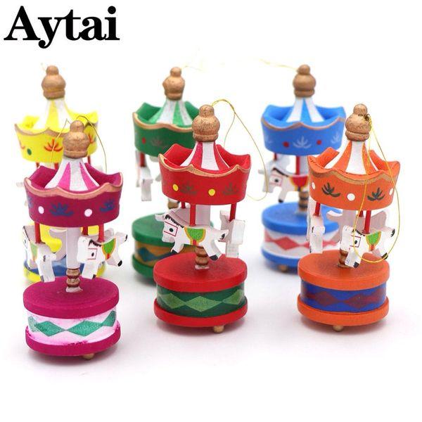 wholesale 6pcs Carrousel Creative Desktop Decoration Merry-go-round Wood Craft Christmas Ornaments DIY Gift For Home Decor Kids Toys