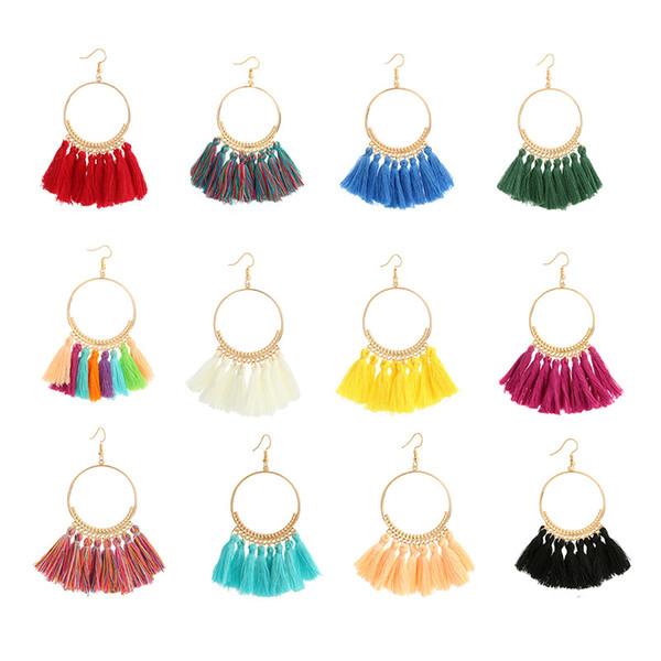 Fashion 12 Styles Boho Retro Tassel Dangle Earrings For Women Summer Party Jewelry Multi Colored Earrings Support FBA Drop Shipping H204F