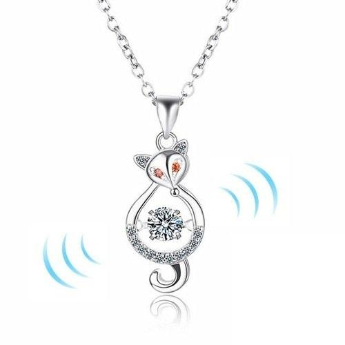 2018 Fashion Siliver Style Fox Shaped Cubic Zircons Pendant for Women Lover Necklace Original Smart Series Dancing Stone Jewelry Gift