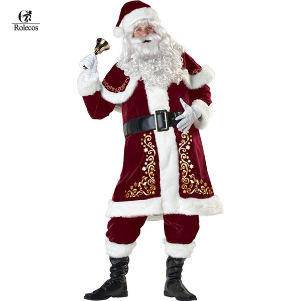 A Full Set Of Christmas Costumes Santa Claus For Adults Red Christmas Clothes Santa Claus Costume Luxury Suit with White beard