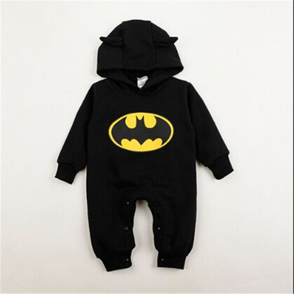 2019 INS Hot Winter Kinder Nette Batman Baumwollkleidung Neugeborenes Baby Jungen Mädchen Einteilige Langarm Strampler Mode