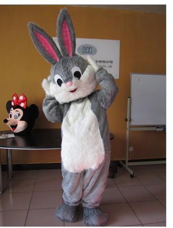 Venta caliente de alta calidad nuevo estilo especial de conejo de peluche vestido de lujo de dibujos animados adultos animales traje de la mascota envío gratis