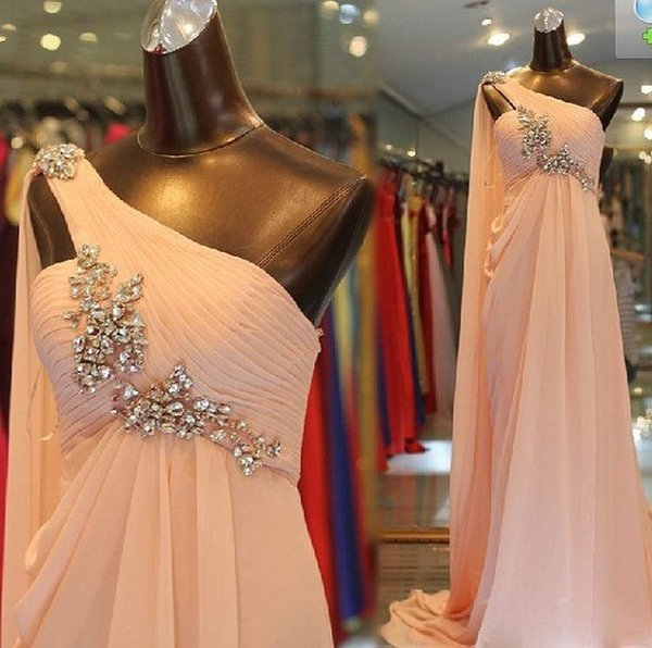 Pretty One Shoulder Pink Chiffon Long Prom Dresses Evening Formal Bridal Gown Special Occasion Prom Bridesmaid Party Dress 17LF646