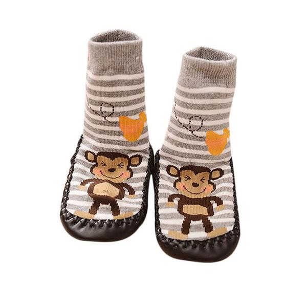 Todo o uso da estação Macaco Dos Desenhos Animados Crianças Bebê Criança Anti-slip Sock Sapatos Botas Chinelo Meias botas de s # fornecimento de fábrica