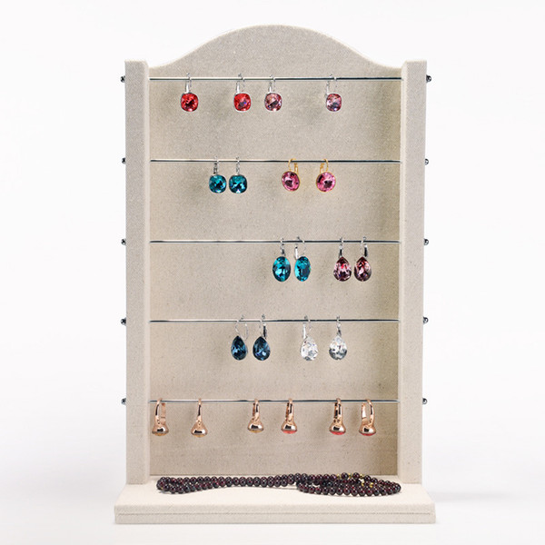 Jewelry Window Earring Display Stand Wooden Metal Rods for Beads Charms Boutique Counter Desktop Hoop Earrings Holder New Jewellery Displays