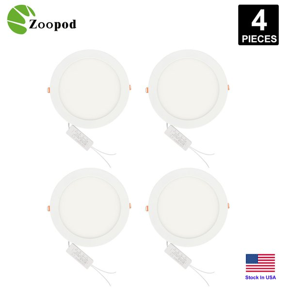 Zoopod 12W 18W 4inch 6inch Ultradünne runde LED-Flachbildschirmleuchte, 1090lm 120W Glühlampenäquivalente LED-Deckeneinbauleuchten 4er Pack