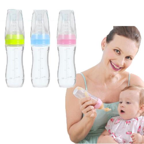 1Pc 120ML Infant Baby Silicone Feeding Bottle With Spoon Feeder Food Rice Cereal Bottle