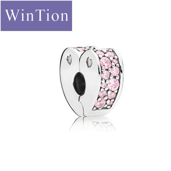 WinTion PAN100% Argent 925 Bracelet anti-glisse Clips De Luxe Rose En Forme de Coeur Zircon Femme Saint-Valentin Cadeau De Noël