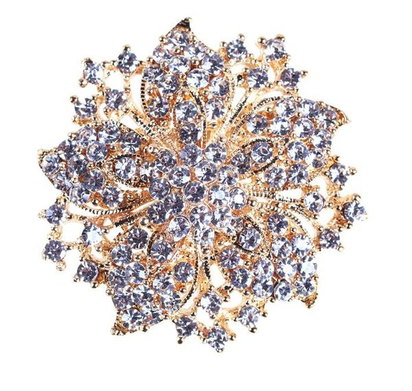2018 New arrival charm women Sparkly-Gold Plated Clear Rhonestone Crystal Flower Victorian Flower Pin Brooch 100